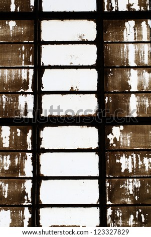 old factory dirty window - stock photo