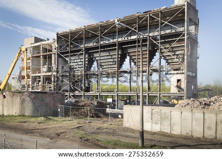 Old factory during demolition, Lodz - stock photo