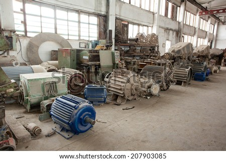 old factory equipment wastes  - stock photo