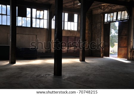 old factory - inside - stock photo
