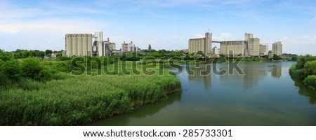 old factory.panorama - stock photo