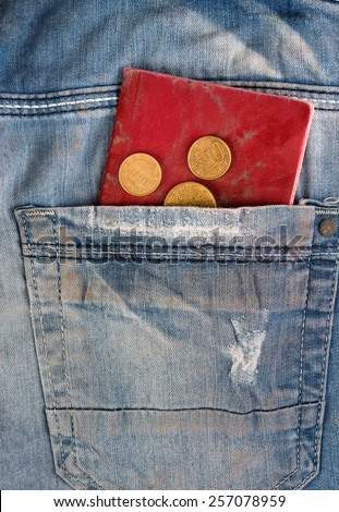 Old faded jeans with euro coins and shabby passport in pocket - stock photo