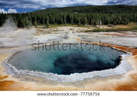 old faithful geyser basin, yellowstone national park, wyoming - stock photo