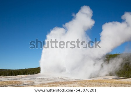 Old Faithful geyser eruption in the Yellowstone national park, USA