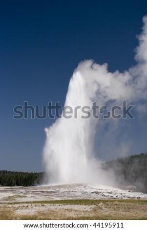 Old Faithful geyser in Yellowstone - stock photo