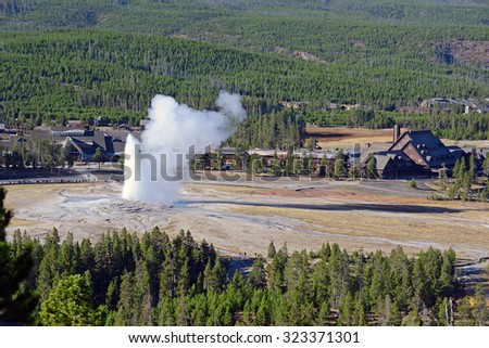 Old Faithful Geyser, Yellowstone National Park, Wyoming, USA - stock photo