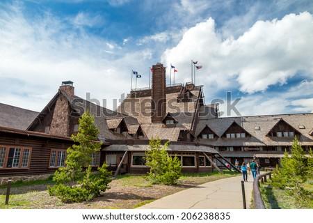 Old Faithful Inn Yellowstone - stock photo