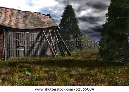 Old falling down barn in a field atop a mountain surrounded by over grown green grass and evergreen trees. Original Illustration. - stock photo