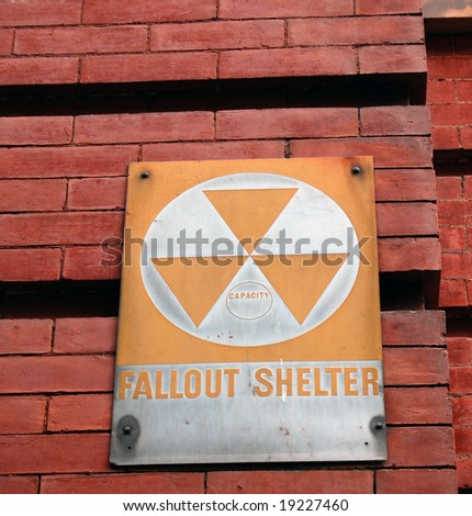 old fallout shelter sign - stock photo