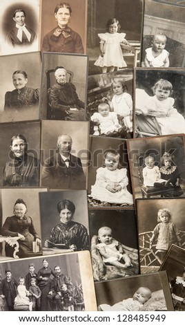 old family photos. parents, grandfather; grandmother; children. nostalgic vintage pictures from ca. 1900 - stock photo