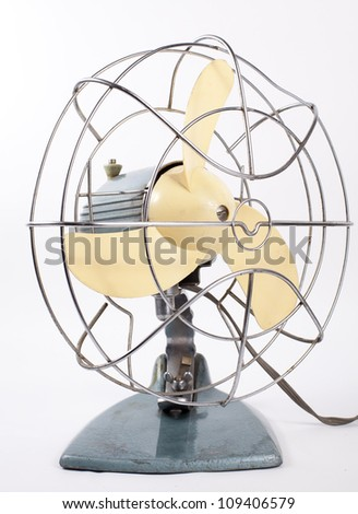 old fan isolated  on a white background - stock photo
