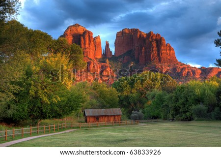 Old farm house at cathedral rock sedona arizona - stock photo