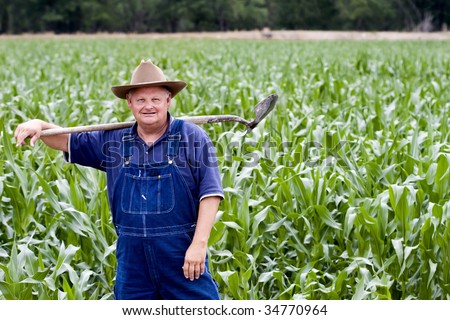 Old farmer standing in his corn fields - stock photo