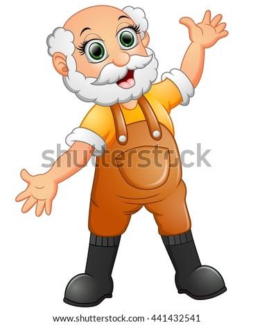 Old farmer waving hand - stock photo