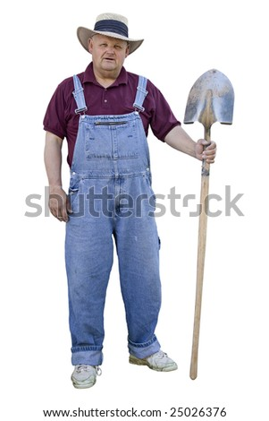 Old Farmer with overalls on