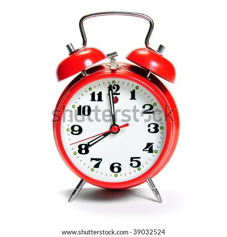 old fashion Alarm clock isolated on white - stock photo