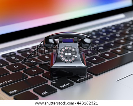 Old fashion black telephone on the computer laptop keyboard. Service communication internet concept. 3d rendering illustration