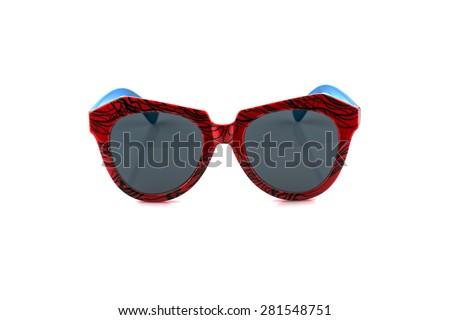 old fashion orange and blue sunglasses isolated on white background - stock photo