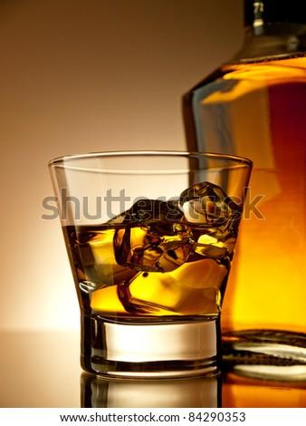 Old fashion whiskey on the rocks - stock photo