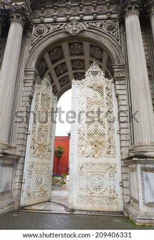 Old fashion white metal lace gate of Dolmabahce palace, Istanbul, Turkey - stock photo