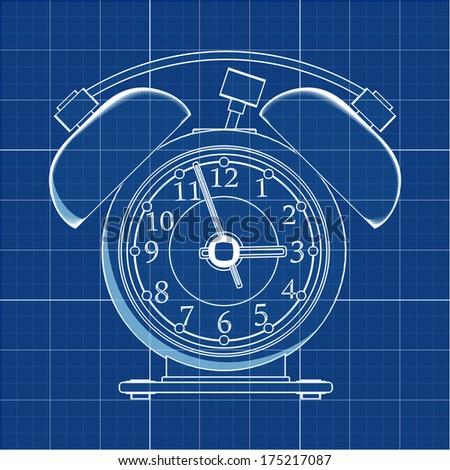 Oldfashioned alarm clock cad cartoon white stock illustration old fashioned alarm clock cad cartoon white drawing on blue background illustration outline malvernweather Gallery