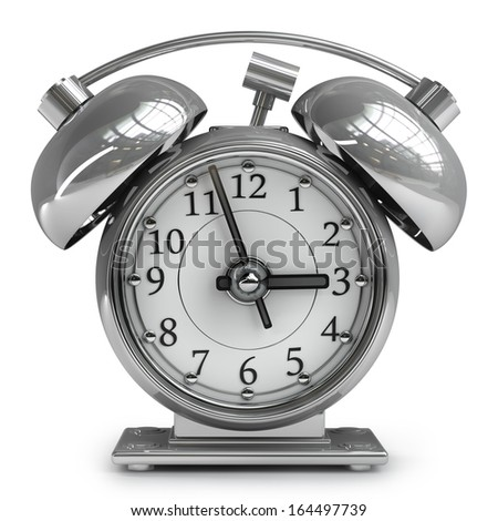 Old-fashioned alarm clock isolated on white background High resolution 3d  - stock photo