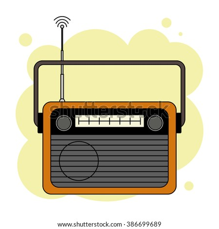 Old-fashioned analog orange radio receiver with antenna isolated on abstract yellow background - stock photo