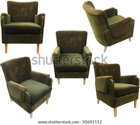 old fashioned armchairs isolated on white - stock photo
