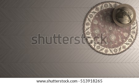 Old fashioned background with vintage globe, persian round carpet and wooden herringbone floor, 3d illustration