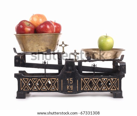 Old-fashioned balance scale with apples  isolated  on white background - stock photo