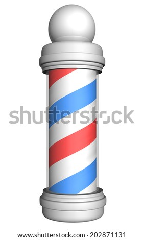 Old-fashioned barber pole with red, white, and blue stripes rendered in 3D