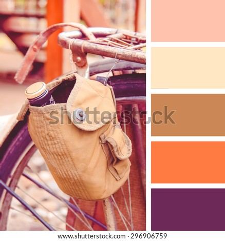 old-fashioned bicycle.  colour palette swatches. Retro vintage effect - stock photo