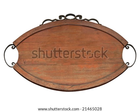 Old fashioned billboar ...from ethnic restaurant, isolated and blank. - stock photo