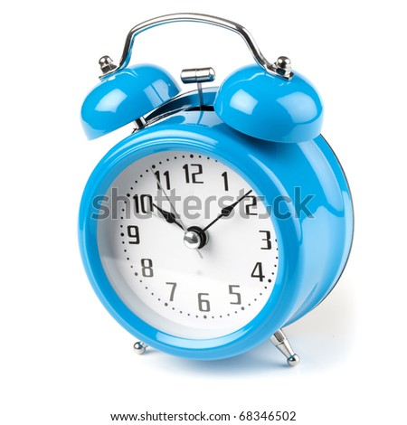Old Fashioned blue mechanical alarm clock on white background - stock photo