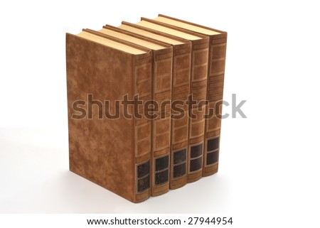 Old fashioned books in brown. Free space to put your own tittles in the spine - stock photo