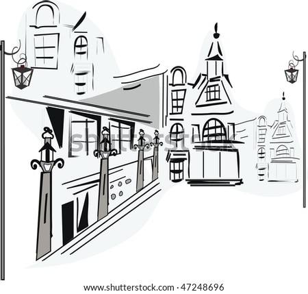 Old-fashioned buildings in the city - stock photo