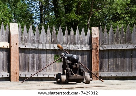 Old fashioned cannon in Jamestown, Virginia - stock photo
