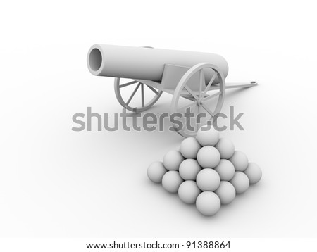 Old fashioned cannon with projectiles. 3d ilustration - stock photo