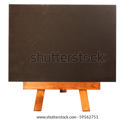 Old fashioned chalkboard with nothing written on it set on a wooden easel