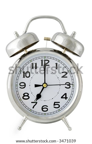 old fashioned chrome alarm clock isolated on white - easy cutout - stock photo