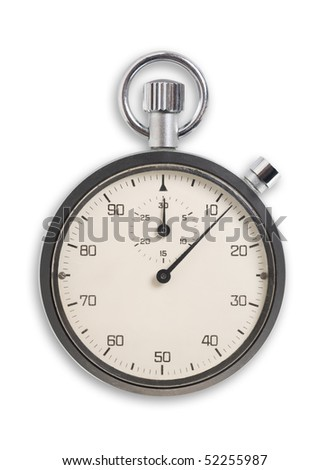 Old fashioned chronometer isolated on white, clipping path.