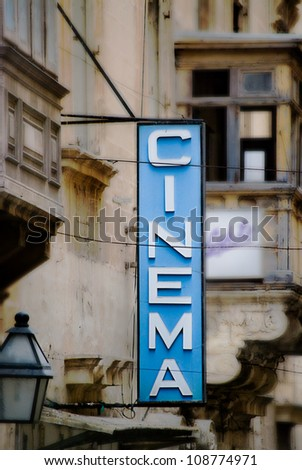 Old Fashioned Cinema Sign in Malta. - stock photo