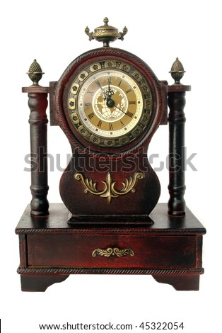old fashioned clock  isolated on white