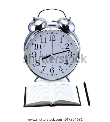 Old fashioned clock with note and pencil isolated - stock photo