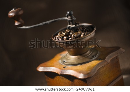 old-fashioned coffee grinder close up - stock photo