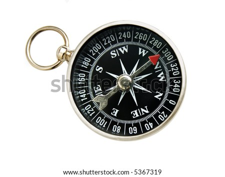 old-fashioned compass, isolated on white background - stock photo