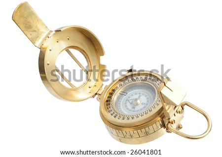 old-fashioned compass on white background - stock photo