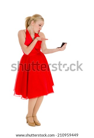 Old Fashioned Conceited Teen Girl Kissing Mirror - stock photo