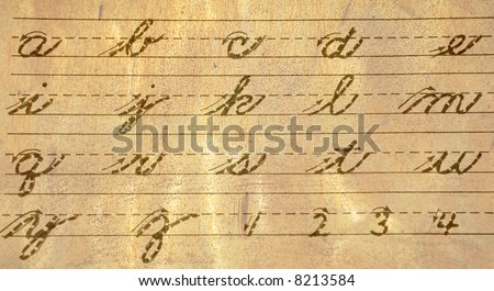 Old Fashioned Cursive Writing Guide of Letters and Numbers - stock photo