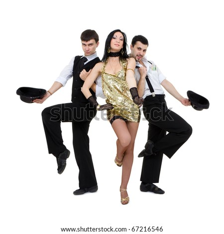 Old-fashioned dancers dancing on a white background - stock photo